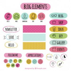 set-de-elementos-de-blog-de-colores-dibujado-a-mano_23-2147561837