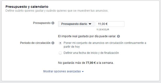 Presupuesto Facebook Ads Mediagroup