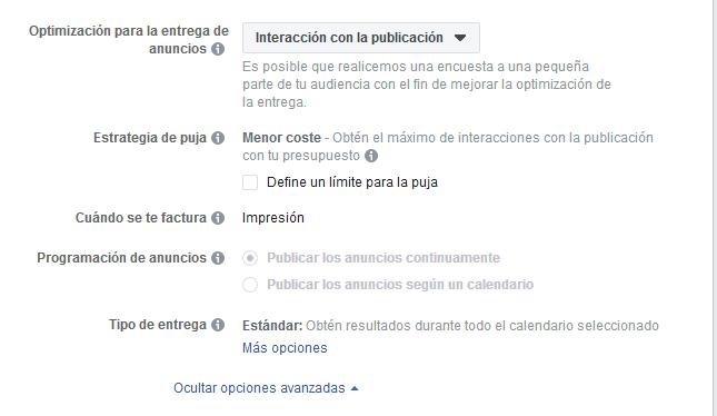 Opciones avanzadas Facebook Ads Mediagroup